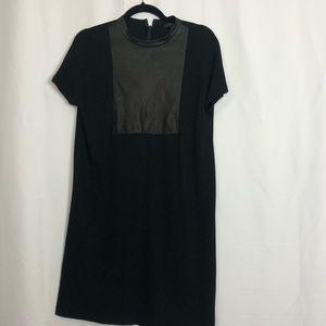 COS Black Shift Dress W/ Leather Yolk M